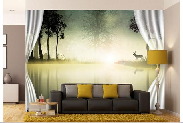 High Quality Competitive Price Hot Sale Fashion 3D Custom Wallpaper 2015  Background Scenery Curtain Wall Mural