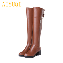 Women boots 2019 new genuine leather women over-the-knee boots, big size 35-42 fashion high-heeled shiny female motorcycle boots недорого
