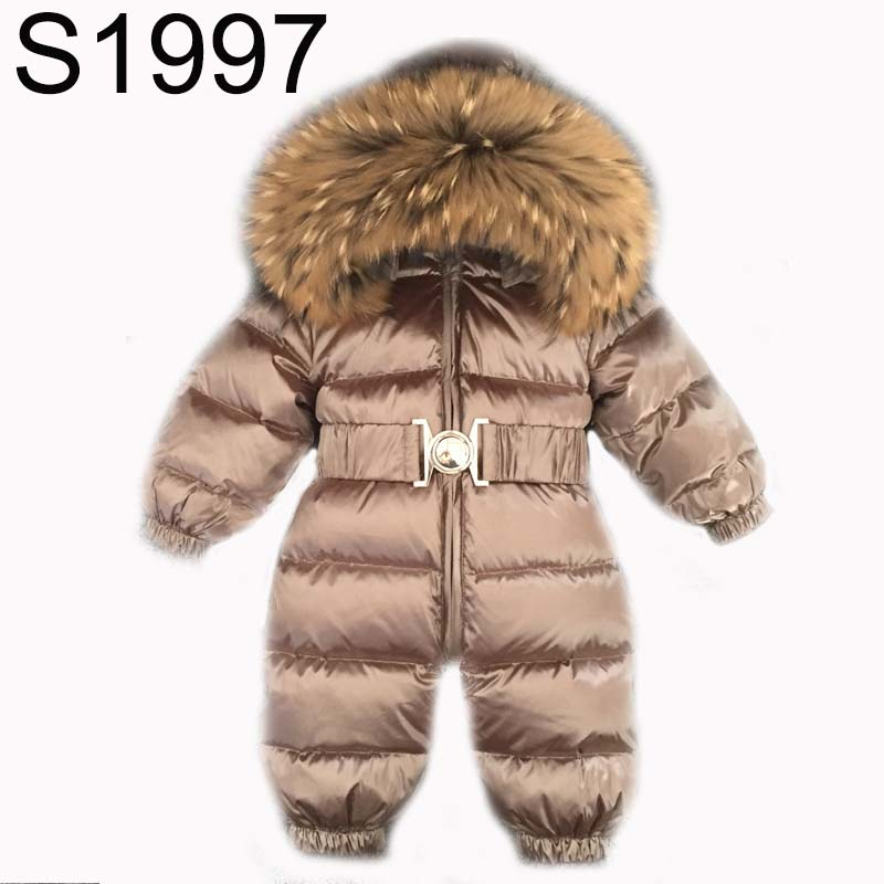 New Brand Winter Baby Girls Boys Rompers Infant Thick Down Feather Jacket Jumpsuit Toddler Fur Collar Hooded Warm Coats Clothes brand new 2017 infant romper baby boys girls jumpsuit clothes new born bebe clothing hooded toddler cute stitch free shipping