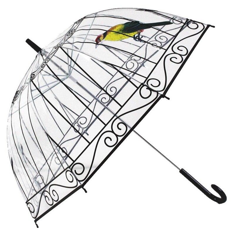 Прозрачный зонтик дождь Для женщин Творческий Bird Cage зонтик с длинным-ручка зонтика 8 ребра солнечный и дождливый зонтик Paraguas