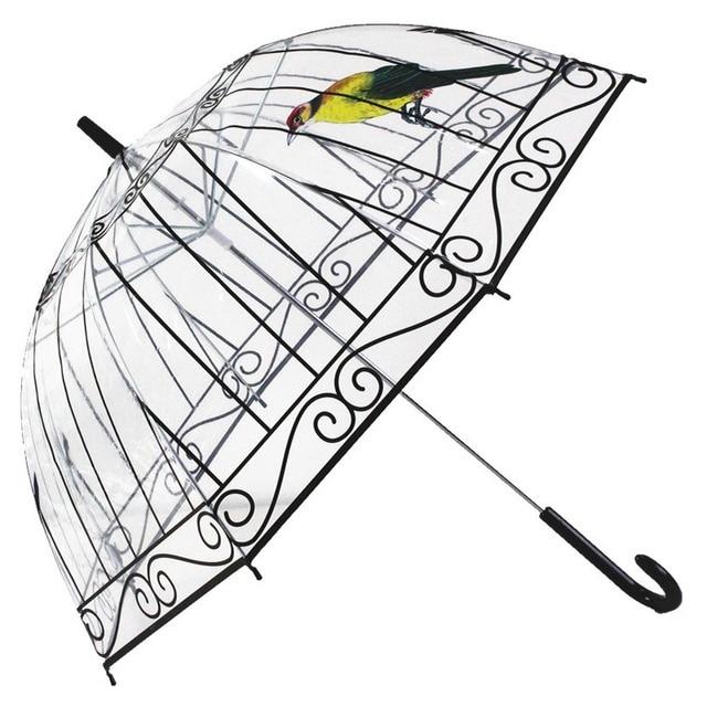 Transparent Umbrella Rain Women Creative Bird Cage Parasol Long-handle Umbrella 8 Ribs Sunny and Rainy Umbrella Paraguas