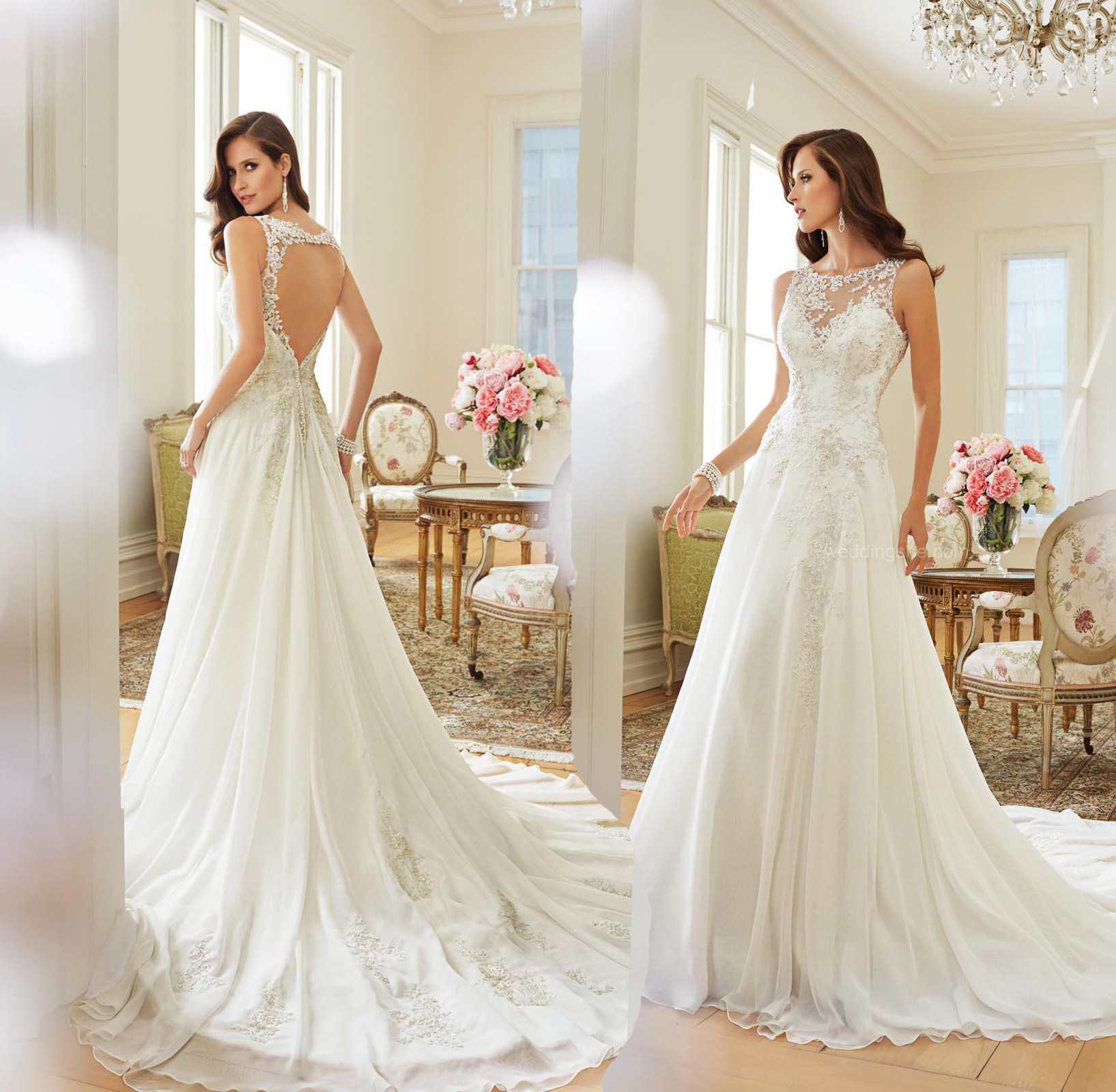 sexy open back lace mermaid short sleeve wedding dresses 2016 high neck bridal gowns fish tail