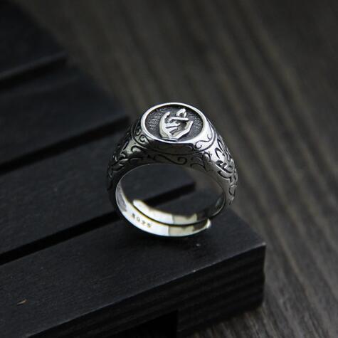 Handmade 100% 925 Silver Buddha Hand Ring Sterling Silver Lotus Symbol Ring Pure Silver Buddhist Symbol Ring