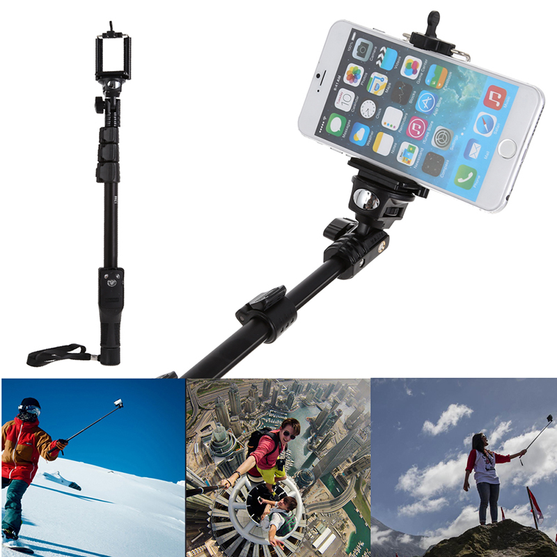 Aluminum + ABS Selfie Sticks Phone Holder Original Bluetooth Shutter for Mobile Phone Camera GoPro for iphone for Samsung S3/4