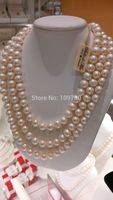 Jewelr 003627 14KGP Cultured Fresh Water Pearl 3 Strand Necklace 9 10mm