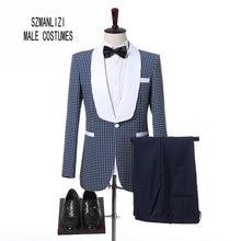 2017 Custom Made Slim Fit White Shawl Lapel Blue Suit Groom Tuxedos Men Suits For Wedding Best Man Blazer (Jacket+Pants+Bow)