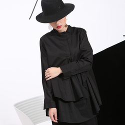 [EAM] 2019 Spring Plus Size Long Shirts Women Blouses Long-sleeve White Loose Tops Black White Cotton Shirt Big Size C006111 6