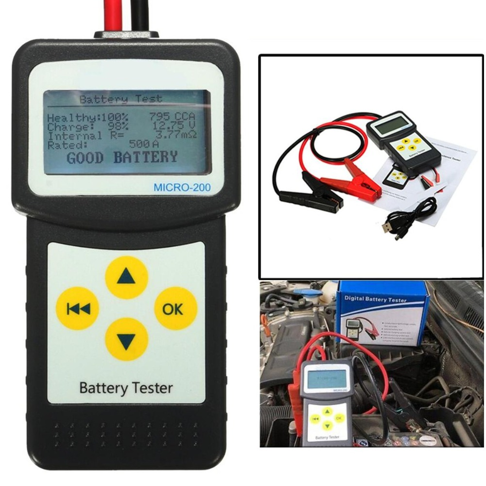 12V Aumotive Vehicle Car Battery Tester MICRO-200 2 Clips USB Cable Car LCD Digital Battery Analyzer Auto Diagnostic Tool digital car battery load tester with printer micro 300 2000cca 200ah 12v car diagnostic tool battery capacity checker