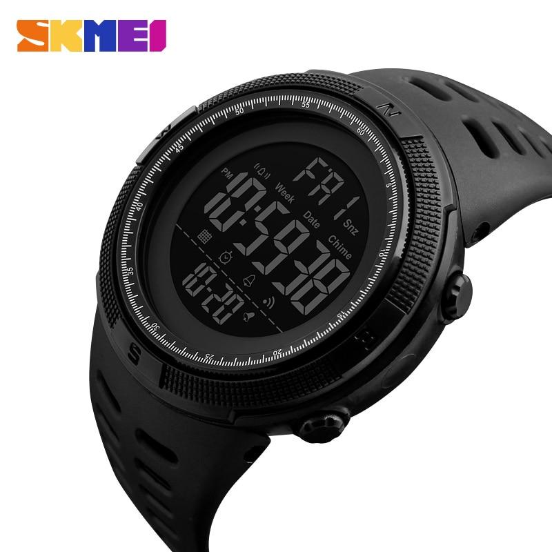 SKMEI Hombres Deportes Relojes de Cuenta Regresiva de Doble Tiempo Reloj Crono Alarma Digital Relojes de Pulsera 50 M Impermeable Relogio masculino 1251