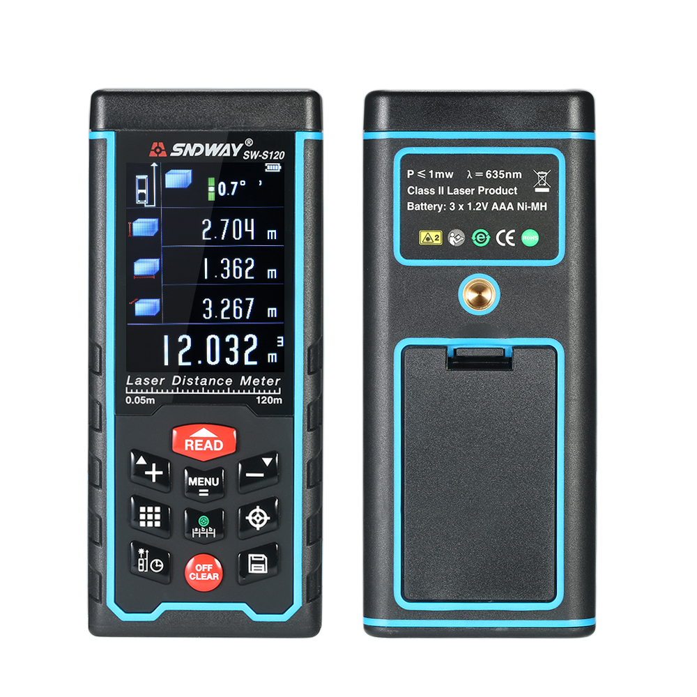 120/100/80/50m Mini Handheld LCD Digital Laser Distance Meter USB Range Finder Distance Area Volume Measurement yihm hm 40 1 8 lcd handheld laser distance meter black blue 2 x aaa 0 05 40m