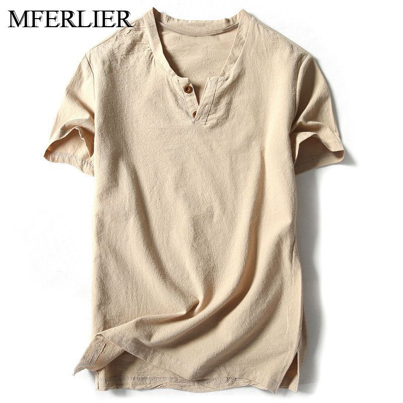 MFERLIER Summer men shirt 5XL 6XL 7XL 8XL 9XL 10XL plus size linen short sleeve large size shirt men 5 color