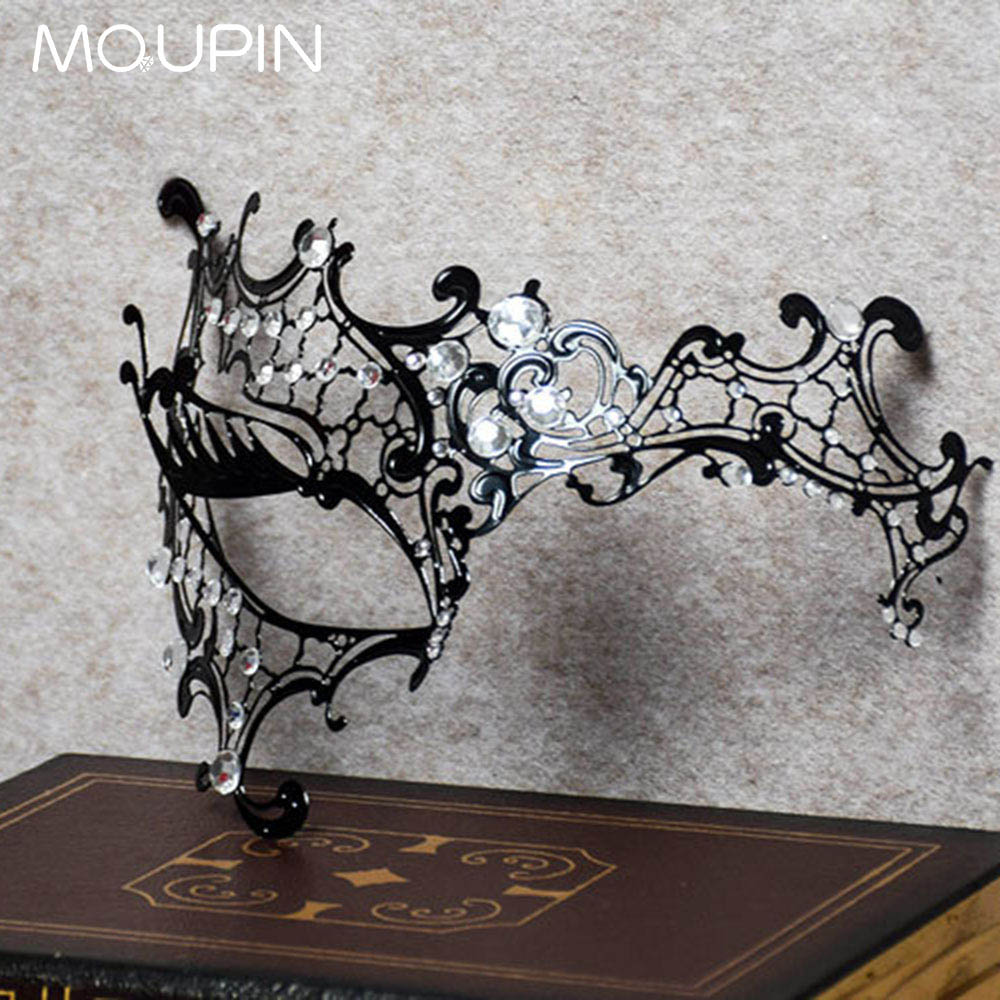 MQUPIN Sexy Eye Mask Sexy Iron Art Princess Masquerade Party Girl Half Face Set Hollow Out the Golden Metal Mask For Women Toy