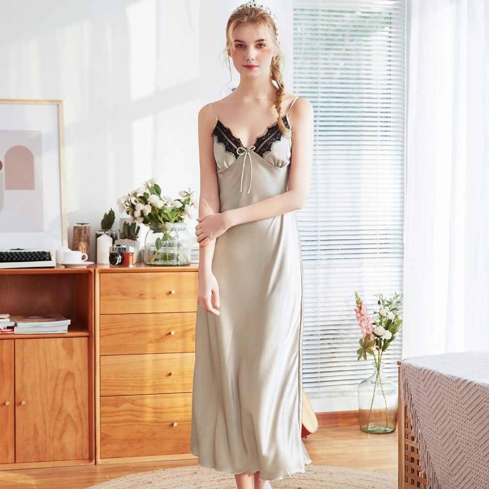 56bfc5b24bf39 New Women Satin Lace Spaghetti Strap Bath Robe Gown Night Dress Sexy  Intimate Nightgown Lingerie Sleepwear Sleepshirts M L XL