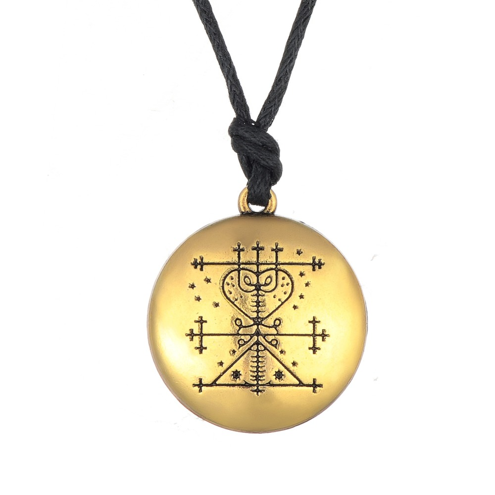 Maman Brigitte Voodoo Loa Veve Pendant Money Talisman Wealth Amulet Jewelry Hand Stamped Necklace Gold Silver Viking Jewelry