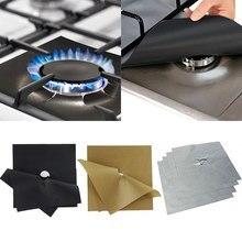 B 2 шт Универсальная подкладка для духовки, Защитная пленка для газовой плиты, квадратная жаростойкая Защитная пленка для горелки, моющаяся многоразовая накладка
