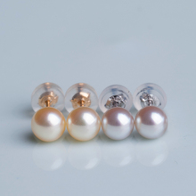 Eternal wedding Women Gift word 925 Sterling silver real Japan Akoya seawater pearl 18 K  Mini earrings, 5-5.5mm natural gray po