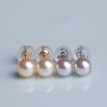 купить Eternal wedding Women Gift word 925 Sterling silver real Japan Akoya seawater pearl 18 K  Mini earrings, 5-5.5mm natural gray po по цене 674.11 рублей