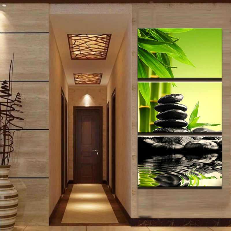 Canvas Oil Painting Home Decoration Wall Art Pictures 3 Panel Stones Bamboo Forest Landscape  For Living Room Prints