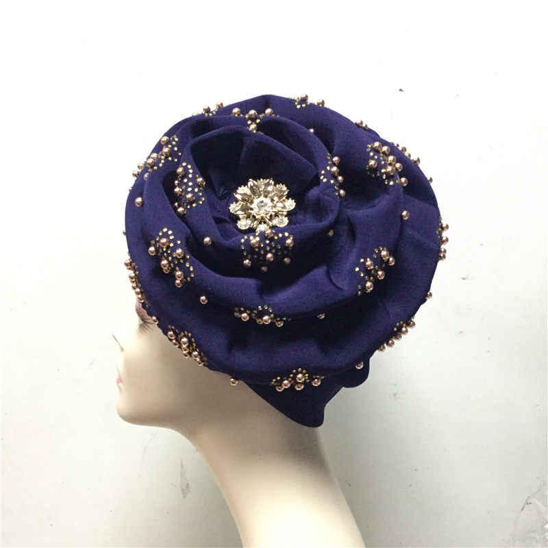 2019 ניגרית gele headtie עם חרוזים כבר עשה אוטומטי hele טורבן כובע אסו אפריקה ebi gele אסו אוקי headtie עם beads-LP30