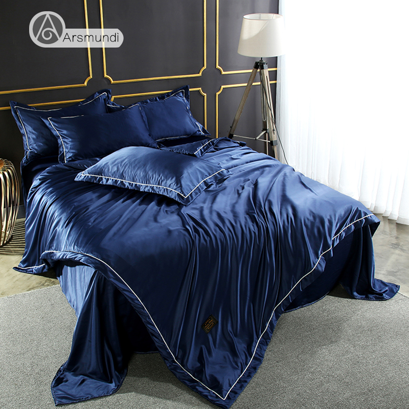 Arsmundi Luxury Blue Color Bedding Set 100% Silk Home Textiles Soft Comfortable Duvet Cover Silky Bed Set With Flat Sheet 4pcs ...