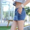 Pantalones Cortos de mezclilla Mujeres Falda de Verano Estilo Skort Hot Jeans Shorts para Mujer Atractiva de La Cadera Delgada Azul de La Moda Cortos Femme 2016
