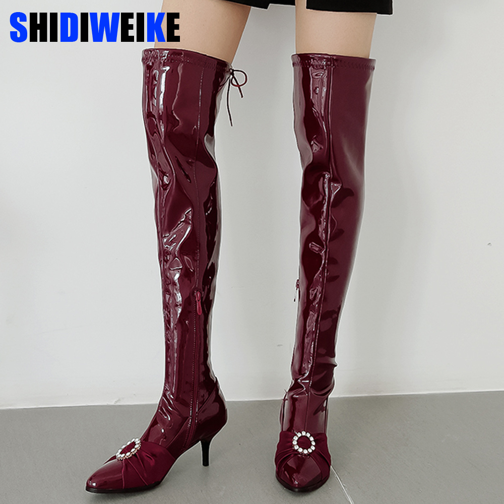 2019 Woman Winter ovet the knee Boots Pointed Toe  Rhinestone Buckle Women Shoes Sexy Thin High Heel Party Shoe Plus Size 34-43