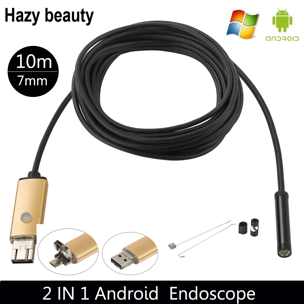 Hazy beauty USB 7mm Android Endoscope Insepction Borescope Waterproof Tube Visual Camera Lens Snake Video For Phone PC 7mm lens mini usb android endoscope camera waterproof snake tube 2m inspection micro usb borescope android phone endoskop camera