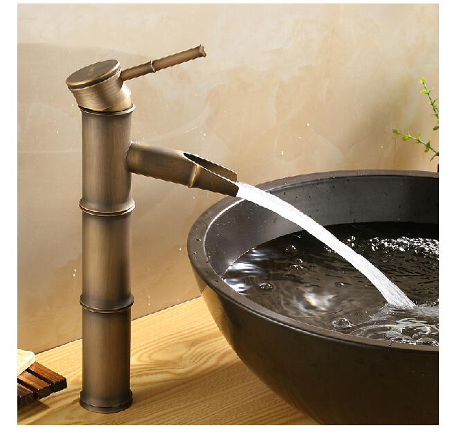 Antique Brass Fashion Waterfall Bathroom Basin Faucet Bamboo Shape Vanity Sink Mixer Tap Single Handle Hole Hot And Cold Mixer bamboo new brand contemporary bathroom single handle one hole brass heighten basin faucet tree277