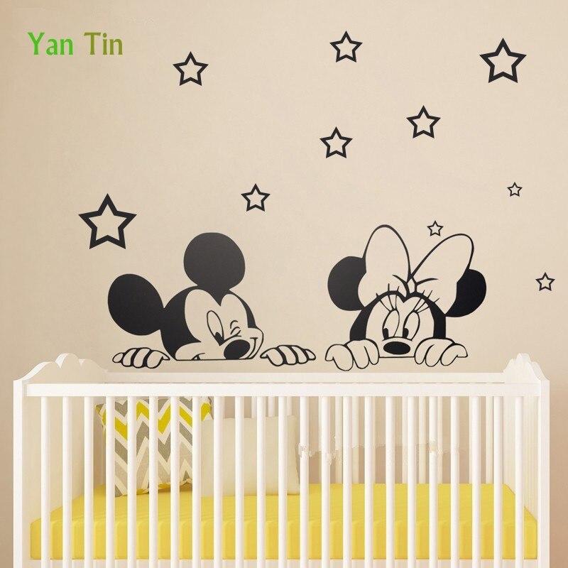 Dessin animé Mickey Mouse et Minnie Sticker Mural pour enfants chambres creuses étoiles décoration Art Mural autocollant étoile papier peint