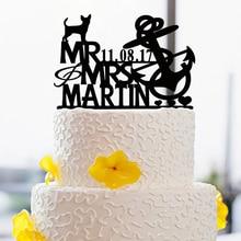 Decoration Mariage Cake Topper For Couple With Dog Mr & Mrs Cake Decor Custom