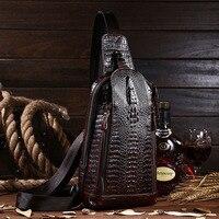 Men Vintage Genuine Leather Shoulder Messenger Bag First Layer Cowhide Crocodile Grain Head Sling Chest Pack