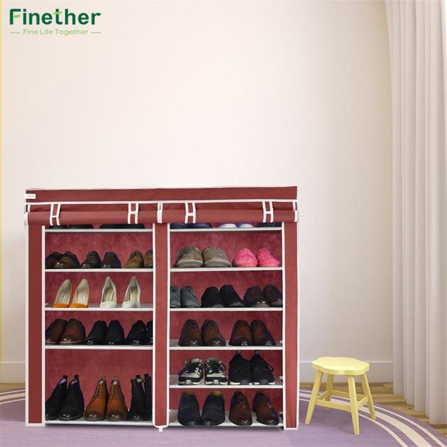 Finether Double Fabric Shoe Rack Canvas Shoe Cabinet Prevent Dust And  Moisture Shoes Storage Organizer Shoe Part 26