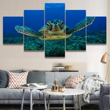 Canvas Painting For ChildrenS Room Decoration Printed 5 Panel Framework Modular Pictures Animal Ocean Turtle Figure