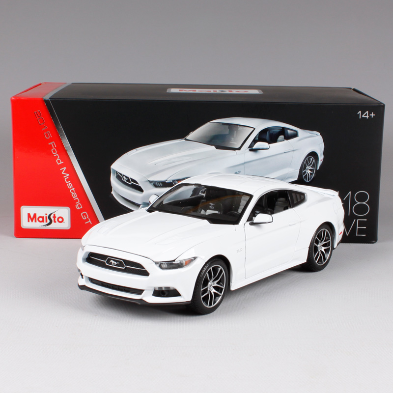Maisto 1 18 2015 ford mustang gt white blue car diecast hardback luxury car toy models