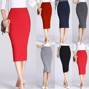 Image 1 - 1Pc Solid Pencil Skirt Knitted Stretch Elastic Office Lady High Waist Womens Skirt Black Fashion Red Color Long Skirt Hot Sale