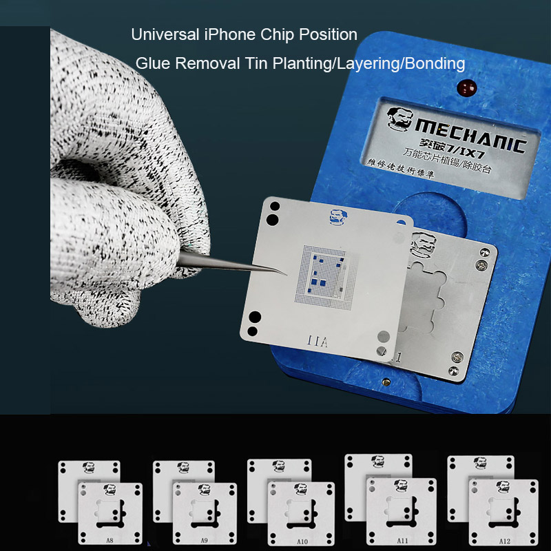 MECHANIC ix7 A8/A9/A10/A11/A12 Motherboard BGA Chip Tin Planting Glue Removal Reballing Platform With Stencils For iPhone