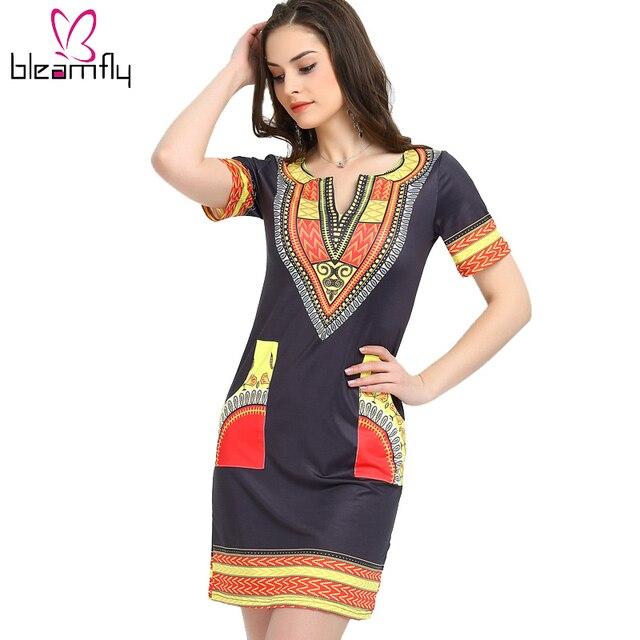 1319f95a4d1 2018 robes africaines pour femmes Vintage Dashiki Robe décontracté imprimé  africain dames indien robes de grande