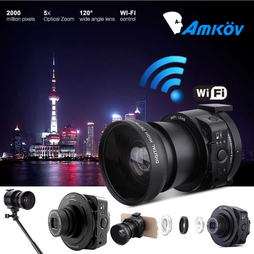 AMKOV AMK-OX5 Wifi Lens-style Digital Camera Camcorder Full HD 1080P 30fps 20MP 4X digital 5X Optical Zoom Camera For Smartphone
