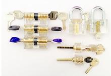 Envío de La Venta Caliente 7 unids Transparente Candados de Combinación Práctica de Formación de Cerrajería Herramientas de Corte Selección de la Cerradura Sets Visible