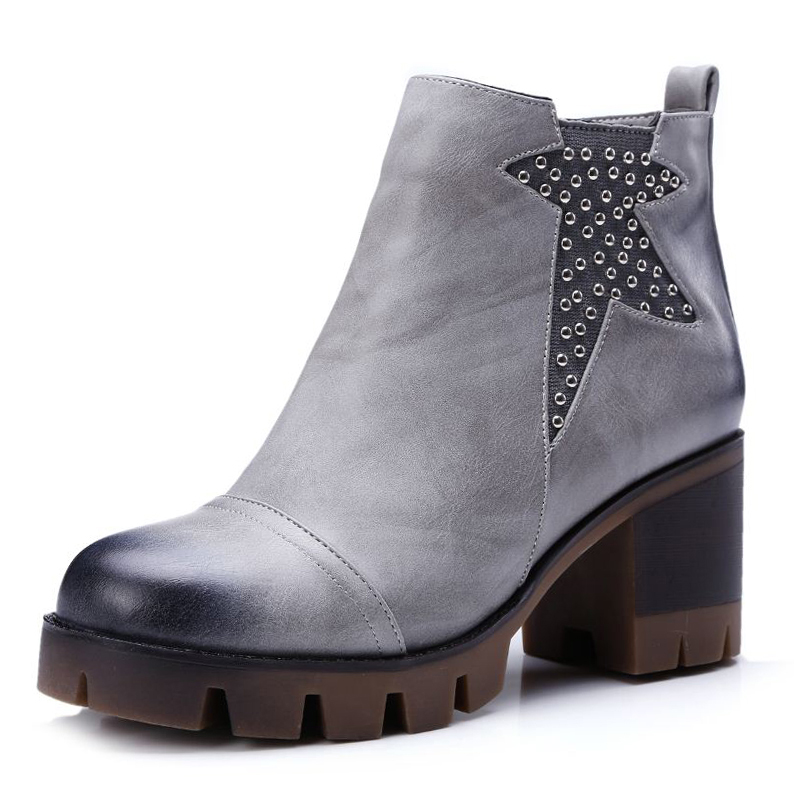 High Quality 4 Colors Size 34 42 Comfort Rivets Fashion Ankle Boots Fall Winter Shoes font