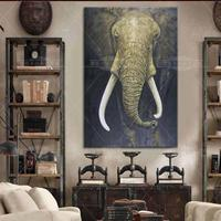India Real Hand Painted Animals Oil Painting Hang Paintings Modern Elephant Picture For Home Decor Running Water Canvas Painting