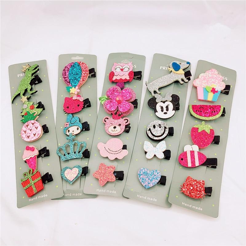 1Set=5pcs Mix Cartoon Children Hairpins Cute Bow star fruit Kitty Hair clips Accessories Girls Princess Crown Barrettes   Headwear
