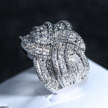Luxury Big silver Rings with CZ Zircon Stone Fashion Wedding Engagement Ring