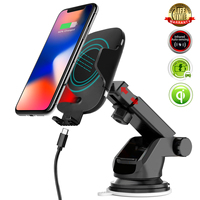 QI Wireless Car Charging Phone Holder for iPhone Xs Max 8 Plus Car Air Vent Sucker Suction Cup Stand Infrared Sensor Charger
