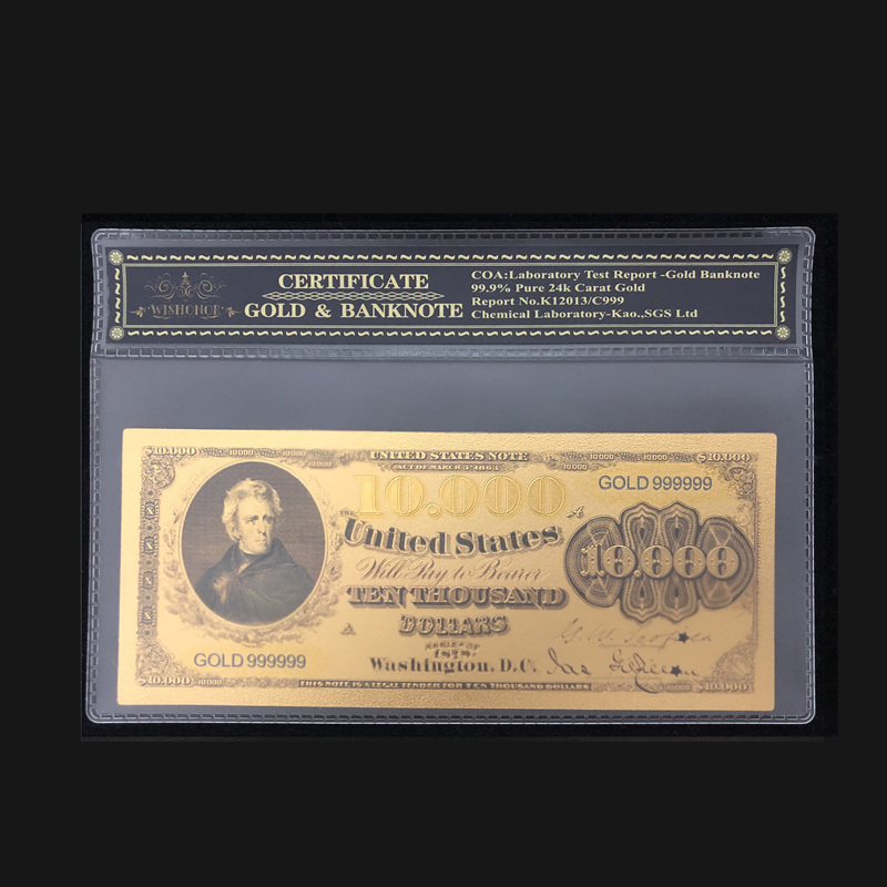 Nice Products For 1978s America Banknotes 10,000 Dollar Banknotes in 24k Gold Plated Paper Money With Plastic Frame For Gift