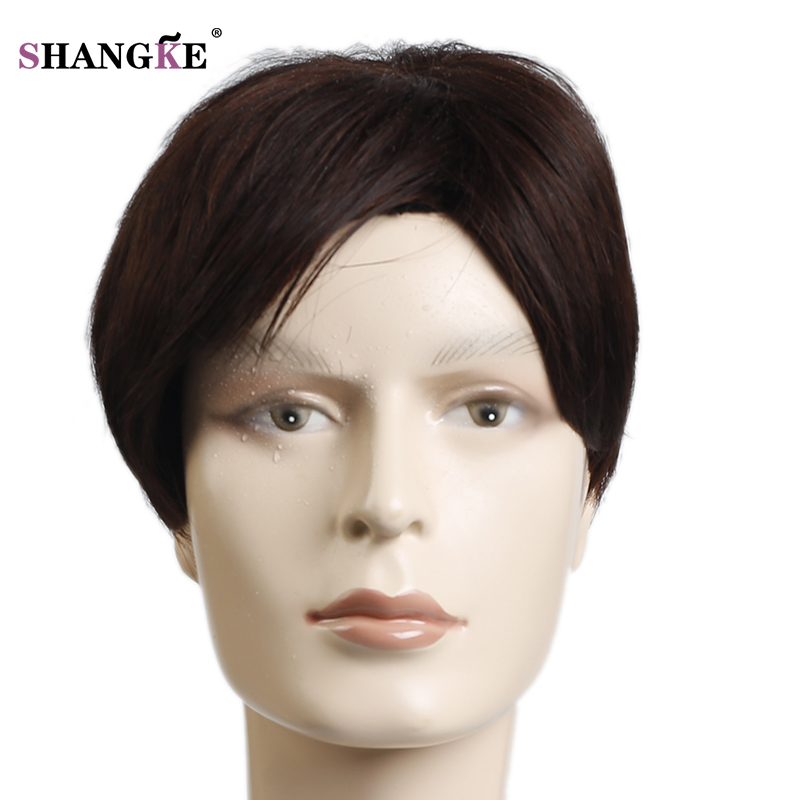 SHANGKE Short Wigs For Black White Men Natural Black Hair Pieces Straight Men's Wigs Heat Resistant Fake Hair