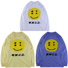 W.W.C.D.Hip Hop Yellow Smiley Face Black Letter Printed Sweatshirts ASAP ROCKY CPFM Stereoscopic W.W.C.D.Men Sweatshirt Kanye