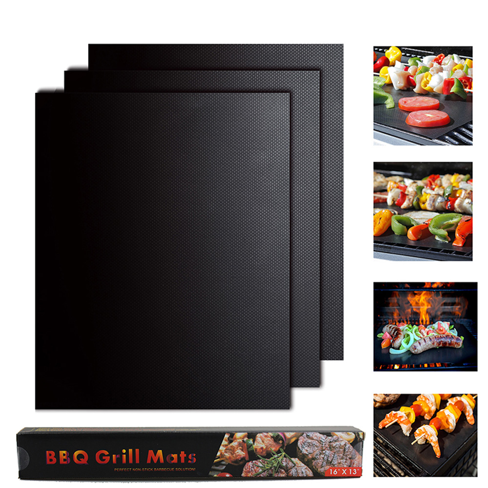 11*13.3in BBQ Grill Mat Non-Stick Bake Grilling Mats Barbecue Pad  Fiber Гриль
