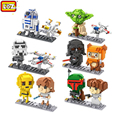 Star Wars The Force Awakens Building Blocks Darth Vader Stormtrooper Yoda R2D2 C3PO Star Wars Model Educational Toys For Kids