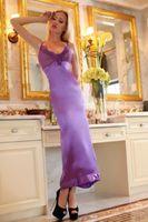 Womens Sexy Rose cetim Lingerie vestido de noite vestido de pijamas XS S